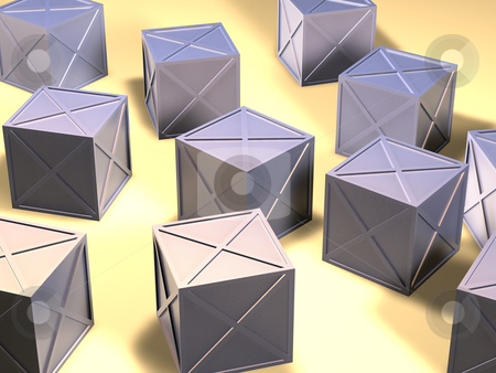 Iron Boxes stock photo, 3D Illustration. Rough casted Iron Material.  by Michael Osterrieder
