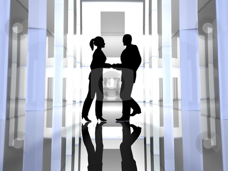 Handshake - Black Silhouettes stock photo, 3D Illustration.  by Michael Osterrieder