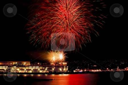Red Green Fireworks Vancouver Harbor British Columbia stock photo, Red Green Fireworks Vancouver Harbor Canada Day British Columbia Pacific Northwest by William Perry