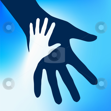 Helping Hands Child stock photo, Helping Hands Child.  Illustration on blue background for design  by dvarg