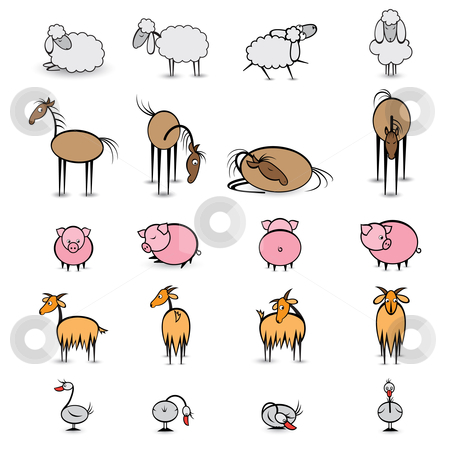 Set of various animals living on the farm stock photo, Set of various animals living on the farm. Illustration on white background  by dvarg