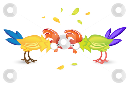 Rooster or game birds cockfighting stock photo, Rooster or game birds cockfighting. Illustration on white background  by dvarg