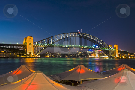 Circular Quay - Sydney Harbour Bridge stock photo, Sydney Harbour Bridge viewed from Circular Quay from behind lighted umbrellas by mroz