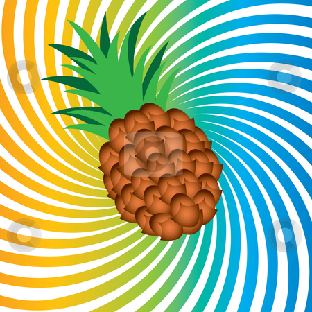Ripe pineapple stock photo, Ripe pineapple. Illustrationon abstract colorful background by dvarg
