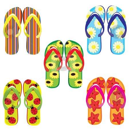 Five pairs of colorful flip flops  stock photo, Five pairs of colorful flip flops. Illustration on white background  by dvarg