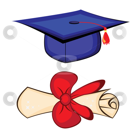 Diploma and graduation cap. Illustration on white background  stock photo, Diploma and graduation cap by dvarg