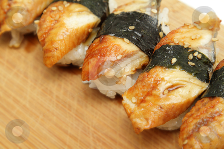 Eel sushi stock photo, Eel sushiCloseup photo of eel (unagi) sushi by Olena Pupirina