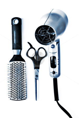 Hair styling tools stock photo, hair dryer, scissors and brush