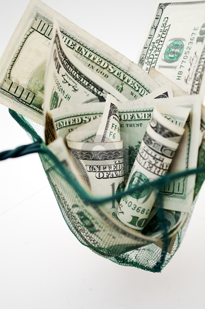 Dollars in fishing net stock photo, one hundred dollar bills in fishing net  by Illustrart