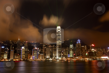 Hong Kong Harbor at Night Lightshow from Kowloon  stock photo, Hong Kong Harbor at Night With Trademarks May 8, 2011 Hong Kong Harbor at Night Lightshow from Kowloon Reflection by William Perry