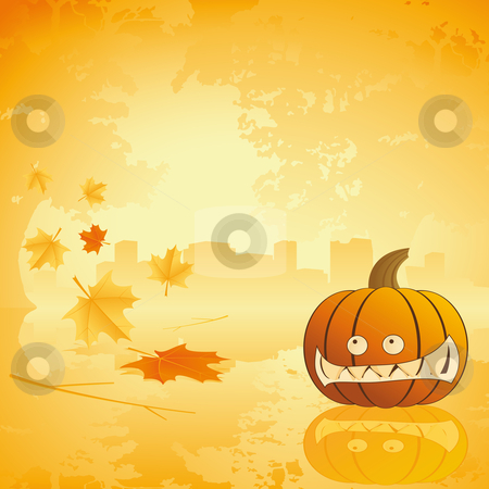Halloween pumpkin with leafs and reflection stock photo, Halloween pumpkin with leafs Abstract holiday background illustration by Vadym Nechyporenko