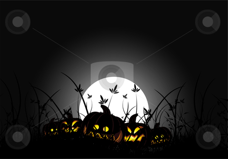 Halloween night stock photo, halloween night with pumpkin in grass and moon in background by Vadym Nechyporenko
