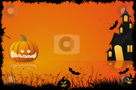 Grunge Halloween frame stock photo, Grunge halloween frame with pumpkin in grass bat and house in background by Vadym Nechyporenko