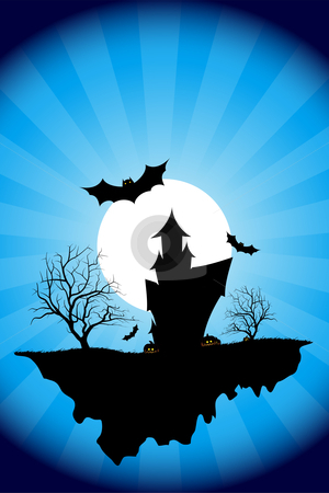 Halloween night stock photo, Halloween night background with tree house moon bat and rays by Vadym Nechyporenko
