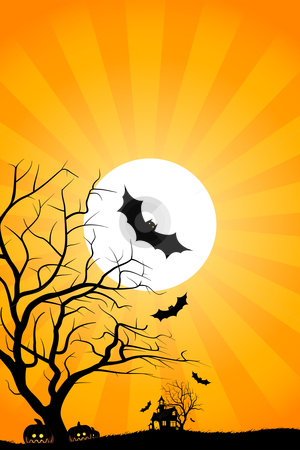 Halloween night stock photo, Halloween night background with tree house moon bat and grass by Vadym Nechyporenko