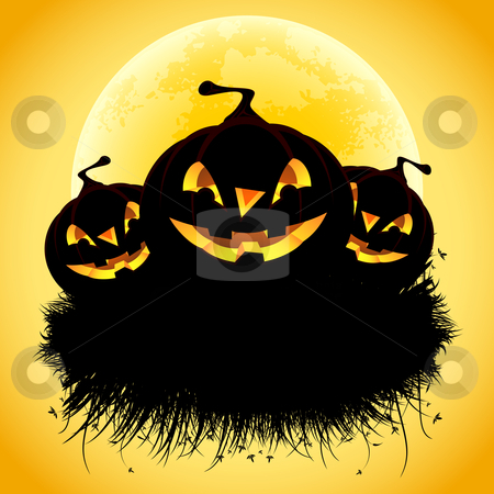 Halloween background stock photo, Halloween black ad background with grass and pumpkin by Vadym Nechyporenko