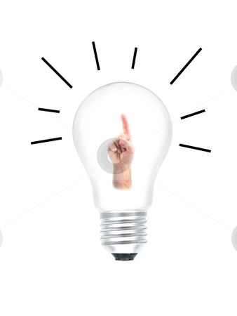 Bright Idea stock photo, A light bulb isolated against a white background by Kitch Bain