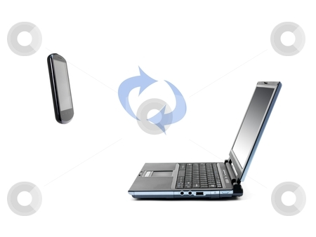 Laptop Computer stock photo, A laptop computer isolated against a white background by Kitch Bain