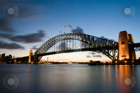 Sydney Harbour Bridge At Dusk stock photo, Sydney Harbour Bridge At Dusk with twilight background by mroz