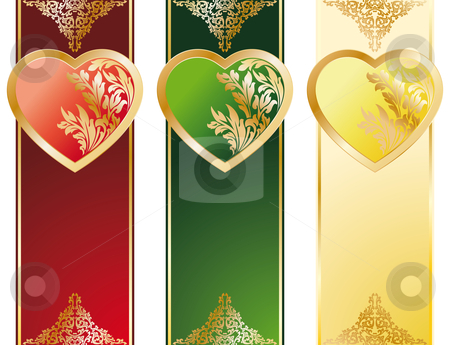 The Valentines day stock photo, The Valentine's Day Heart banners in three color by Vadym Nechyporenko