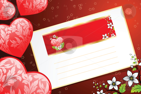 Valentines Day card stock photo, Valentine's Day heart with florals and letter by Vadym Nechyporenko