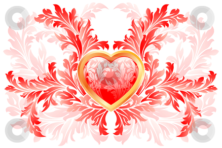 Valentines day Heart stock photo, Floral Valentine's day Heart isolated on white by Vadym Nechyporenko