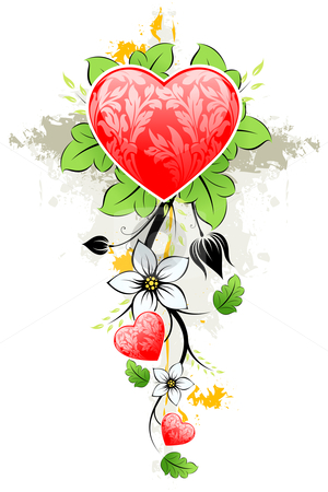 Abstract grunge Valentines day Heart stock photo, Abstract grunge  Floral Valentine's day Heart with flowers and leafs by Vadym Nechyporenko