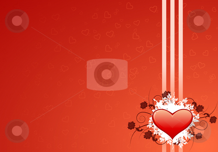 Valentines card stock photo, Valentine's day greeting card with abstract Hearts and floral elements by Vadym Nechyporenko