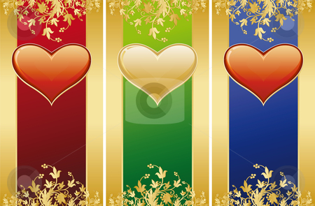 Valentine stock photo, Valentine card with gold decoration and heart shape by Vadym Nechyporenko