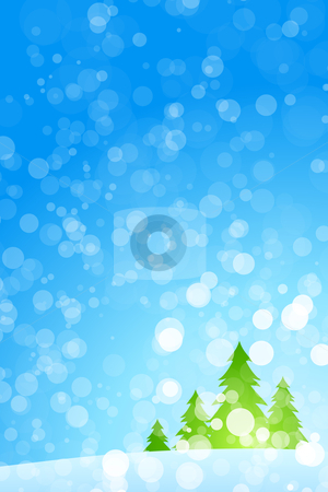 Winter Christmas trees stock photo, Winter Christmas trees with rays in blue color by Vadym Nechyporenko