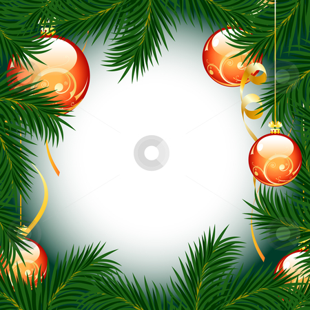 Christmas fir tree stock photo, Illustration of christmas fir tree with baubles on white background by Vadym Nechyporenko