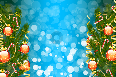 Christmas fir tree stock photo, Illustration of christmas fir tree with baubles and sparkles on abstract background by Vadym Nechyporenko
