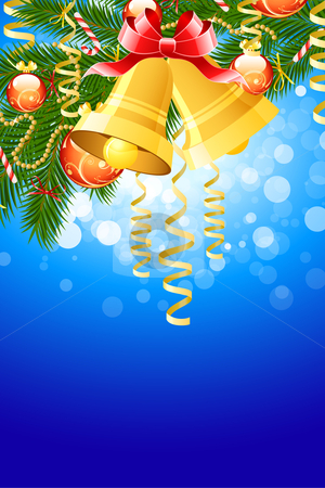 Christmas fir tree stock photo, Illustration of christmas fir tree with bells and decoration on abstract blue background by Vadym Nechyporenko