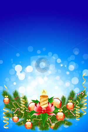 Christmas fir tree stock photo, Illustration of christmas fir tree with candle and decoration on abstract blue background by Vadym Nechyporenko