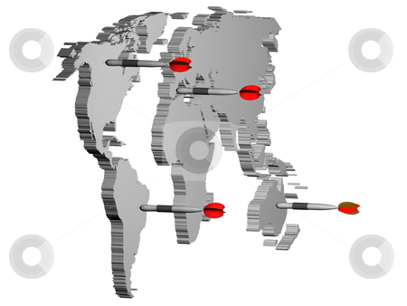 Concept of world market stock photo, World map render 3D with darts. Concept of world market. by marphotography