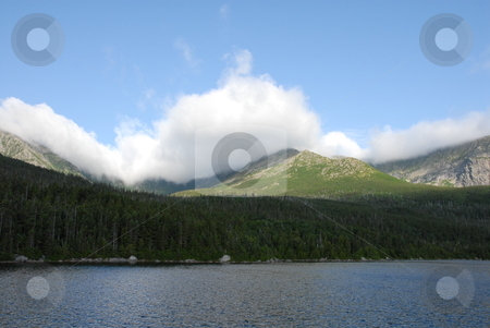Mountain view stock photo, A view of Mt. Kathdin in Maine during the summer time. With a small lake in front by Tim Markley