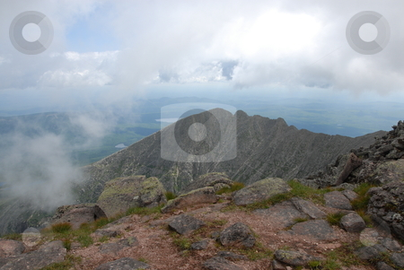 Knife;s edge stock photo, A view of knife's edge on Mt. Katahdin with clouds rolling in. by Tim Markley