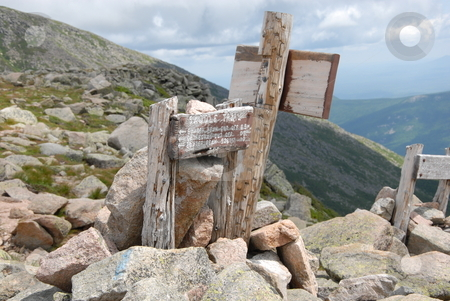 Trail signs stock photo, Trail markers at the top of saddle trail at Mt. Katahdin in Maine by Tim Markley