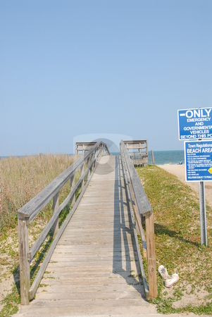 Boardwalk stock photo, A wooden ramp leading to the beach by Tim Markley