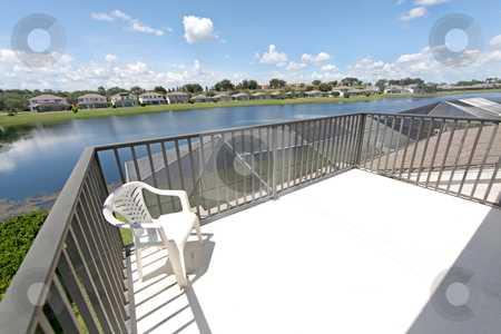 Balcony stock photo, A Balcony overlooking a lake in Florida. by Lucy Clark