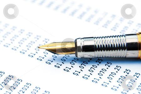 Pen over mortgage estimator stock photo, Fountain pen over mortgage estimate sheet by Sreedhar Yedlapati