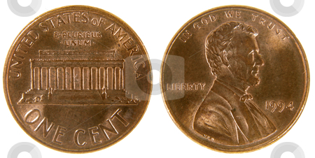 American Penny stock photo, Both sides of a (1994) US penny, isolated on a white background.  by Chris Hill