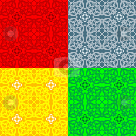 Three Color Floral  Pattern stock photo, Three Color Floral  Pattern Design Vector Illustration by Vadym Nechyporenko