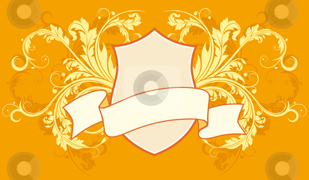 Floral frame stock photo, Ancient Floral frame with ribbon with scrolls by Vadym Nechyporenko