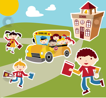 Back to School concept background stock photo, Back to school concept illustration background. Bus, children and school facade composition. Vector file also available. by Cienpies Design