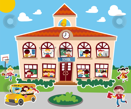 Back to School time stock photo, Time to go back school illustration background. Bus, children and school facade composition. by Cienpies Design