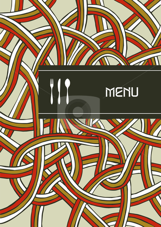 Fork, knife and spoon vintage menu cover design stock photo, Fork, knife and spoon illustration background for food industry, menu, chocolate box, cover, label for wine. by Cienpies Design