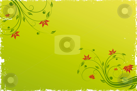 Floral scroll background stock photo, Adstract painted grunge background with floral scroll  by Vadym Nechyporenko