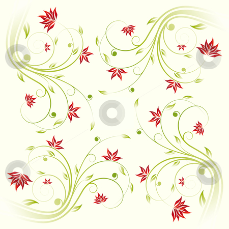 Floral scroll pattern stock photo, Adstract painted floral scroll pattern on yellow by Vadym Nechyporenko