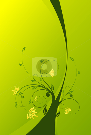 Floral scroll background stock photo, Abstract painted background with floral scroll in green color by Vadym Nechyporenko